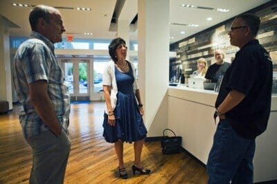 August 19, 2015 - Barbara B. Newman (center) talks to Jay Sieleman (left), president and CEO of the Blues Foundation, and Joe Whitmer (right), Chief Operating Officer of the Blues Foundation, inside the Blues Hall of Fame Wednesday. Newman will become the new president and CEO of the Memphis-based Blues Foundation, replacing the retiring Sieleman. She will take over responsibilities starting October 1. (Yalonda M. James/The Commercial Appeal)